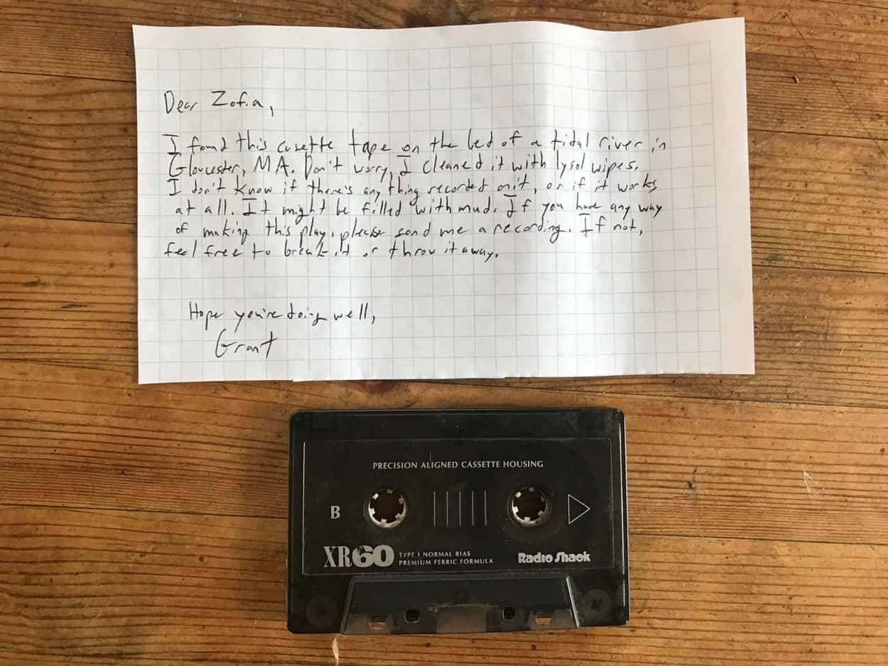 note from grant to zofia and cassette tape