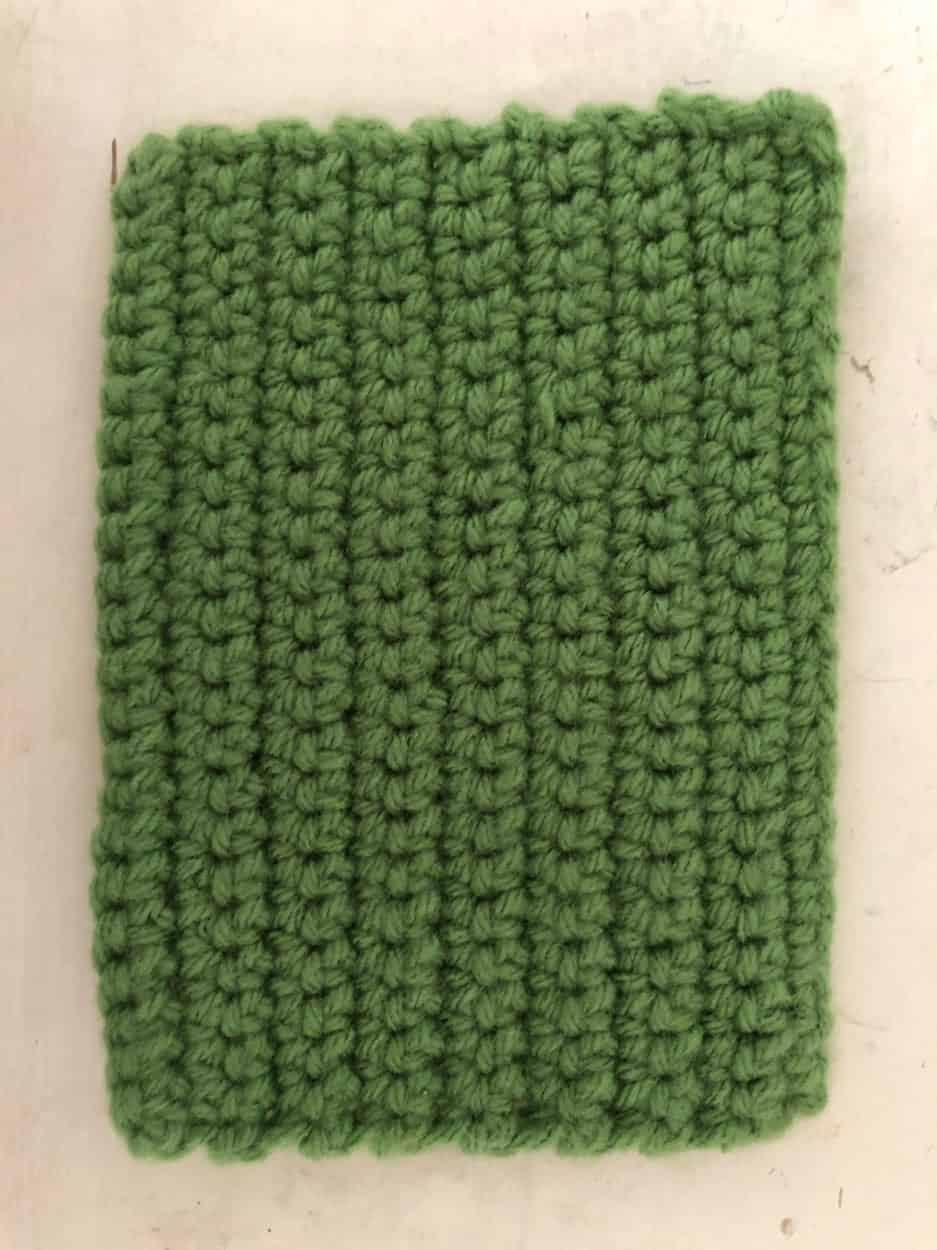 green crocheted rectangle