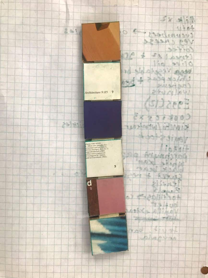 long paper object with 6 square sections of different color