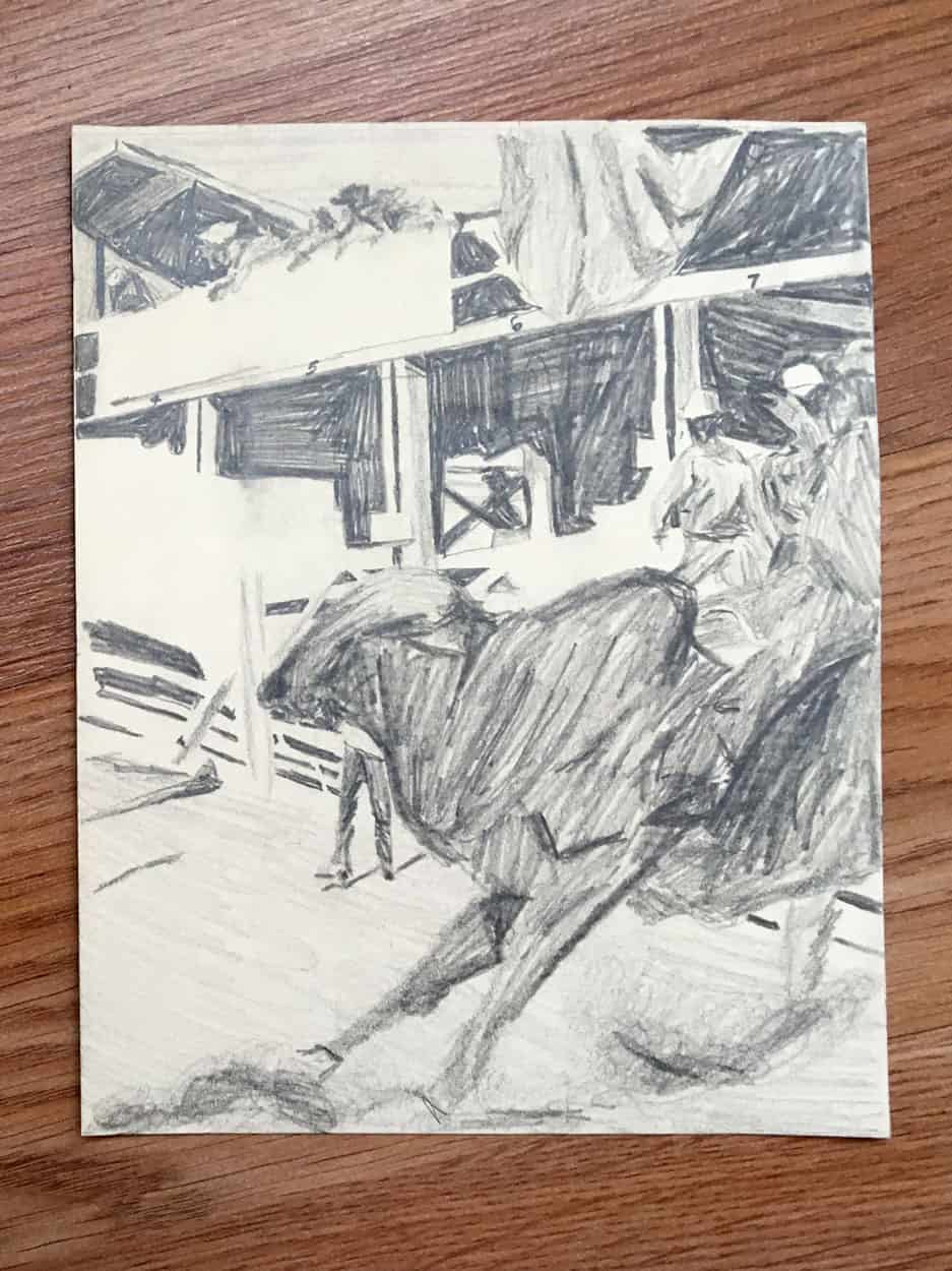 Graphite drawing of bull with fence and stalls in background