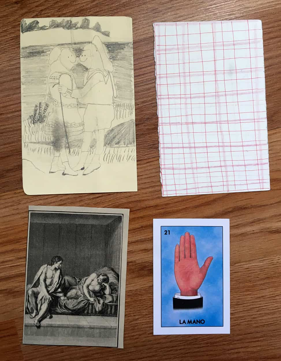 Graphite drawing reproduction of two figures, drawing reproduction of plaid, papers with loteria card and painting reproduction.