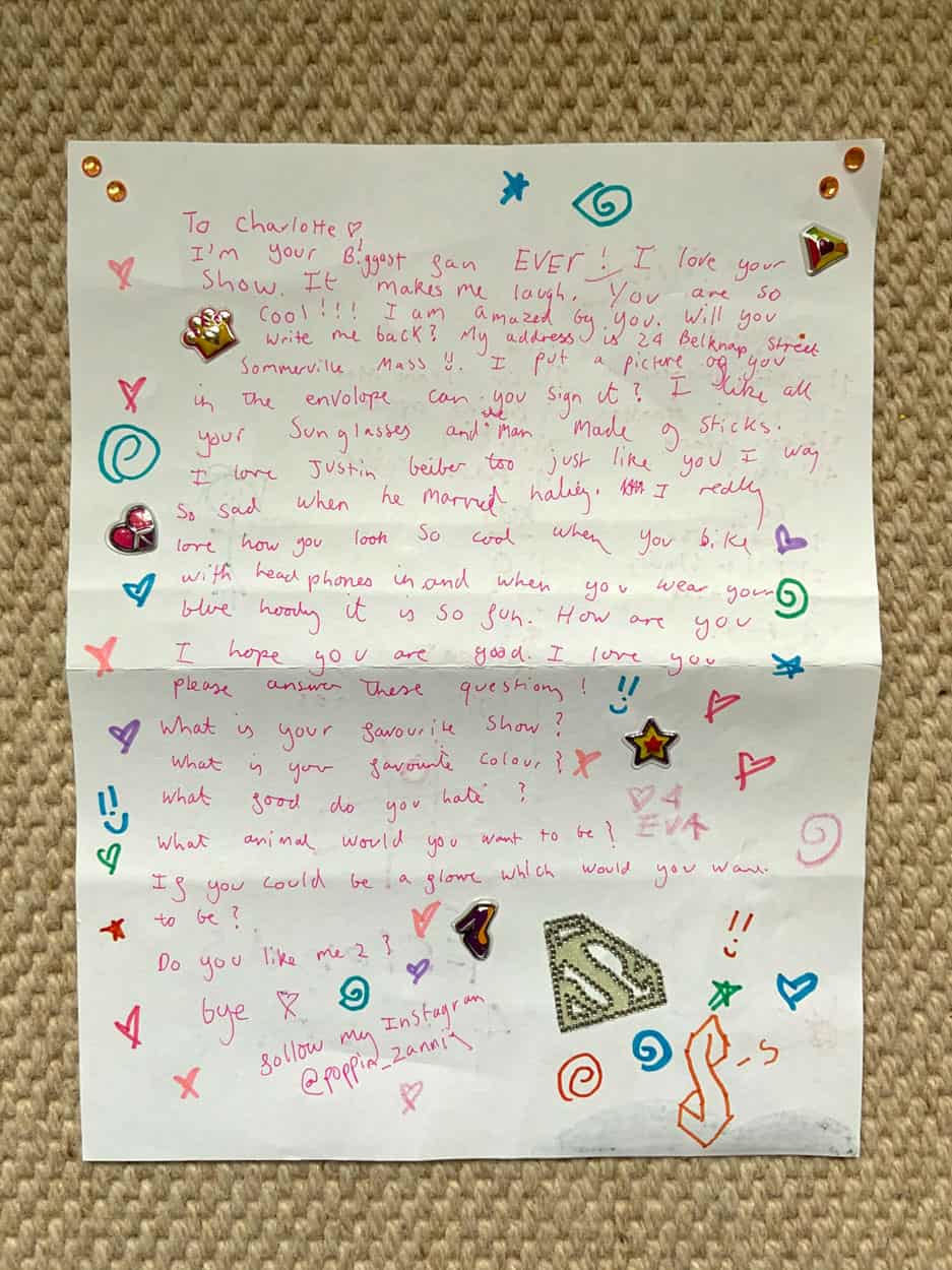 fan letter from Zanna to charlotte, written in pink pen and decorated with stickers.
