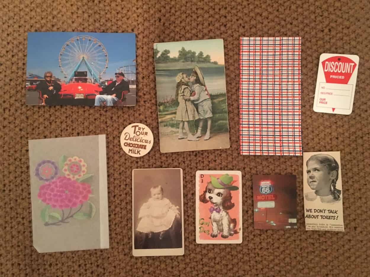 Assorted found paper materials such as photographs, illustrations, playing card, price tag.