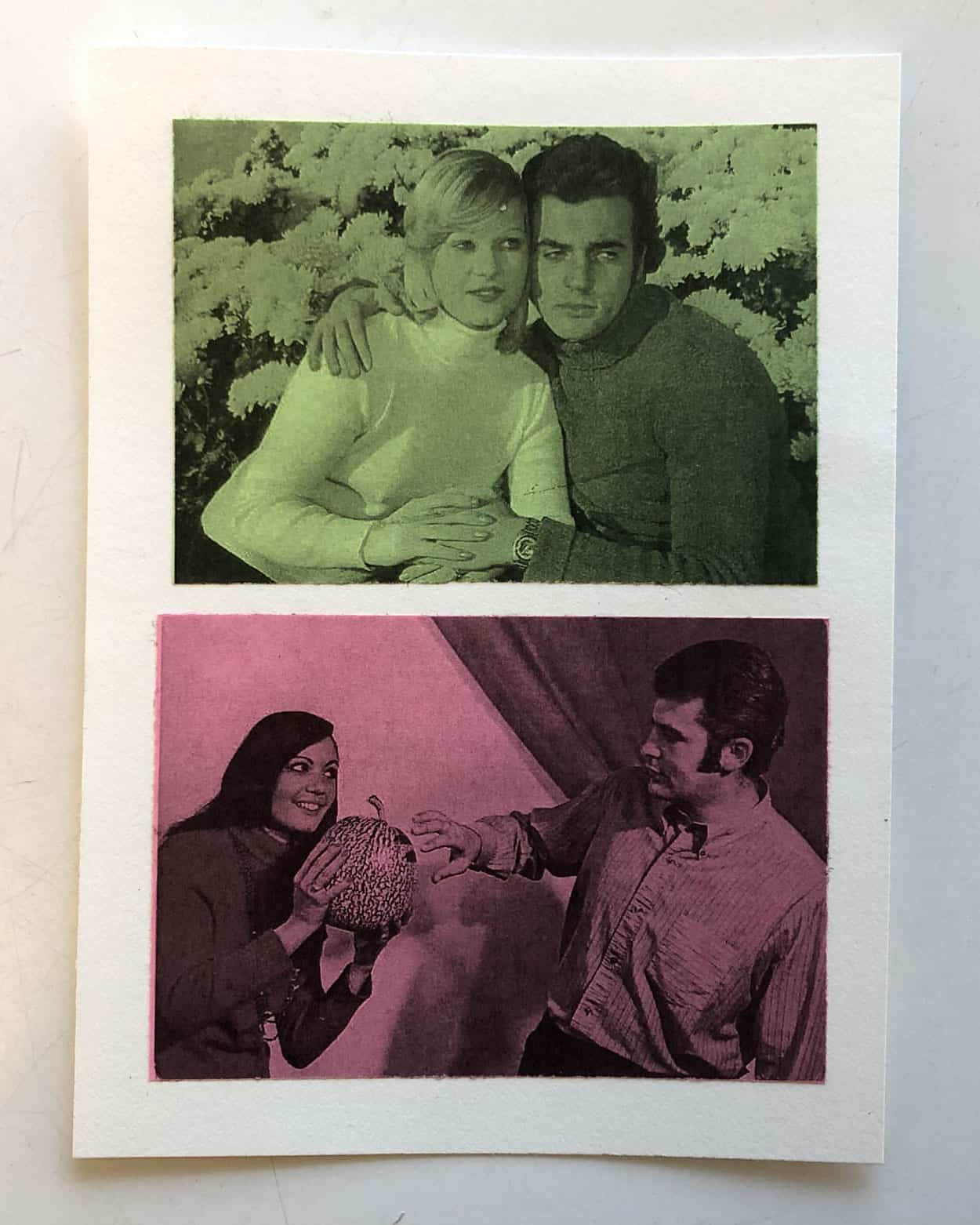 two photos are on cardstock. The top green and black, a photo od a man and a woman hugging in front of flowers. The bottom, in pink and black, is of a woman holding a bowling ball for a man to stick his hand into.