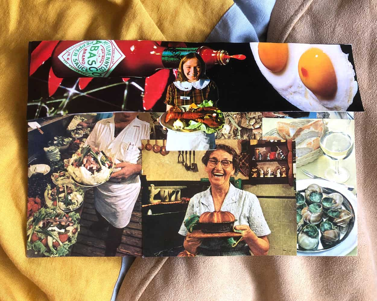 A collage of food, covers an envelope. Three people carry food. Some of the dishes are lobster, cake, and escargot.