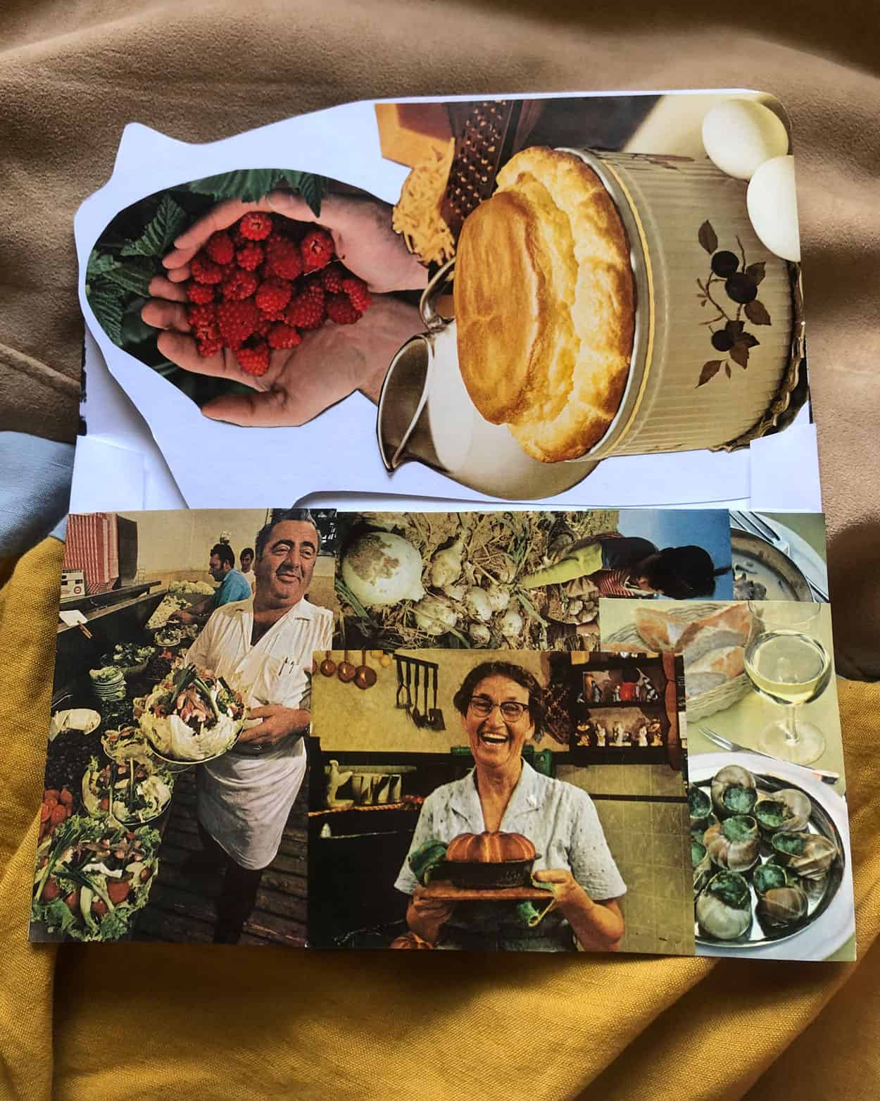 Collage of food. Food items include escargot, root vegetables in the ground, a man caring a dish and a woman caring a cake, and a soufflé with eggs and raspberries.