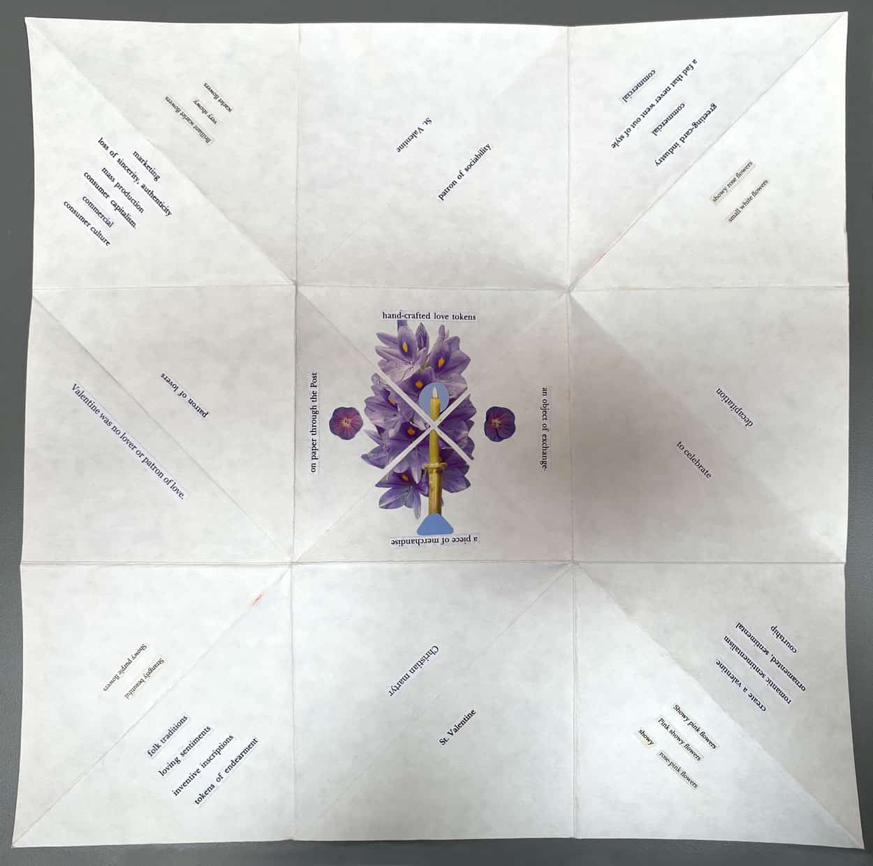 Square fold out of collaged words on corners. Image has 9 boxes, each containing different words. The middle has a purple flower and candle.