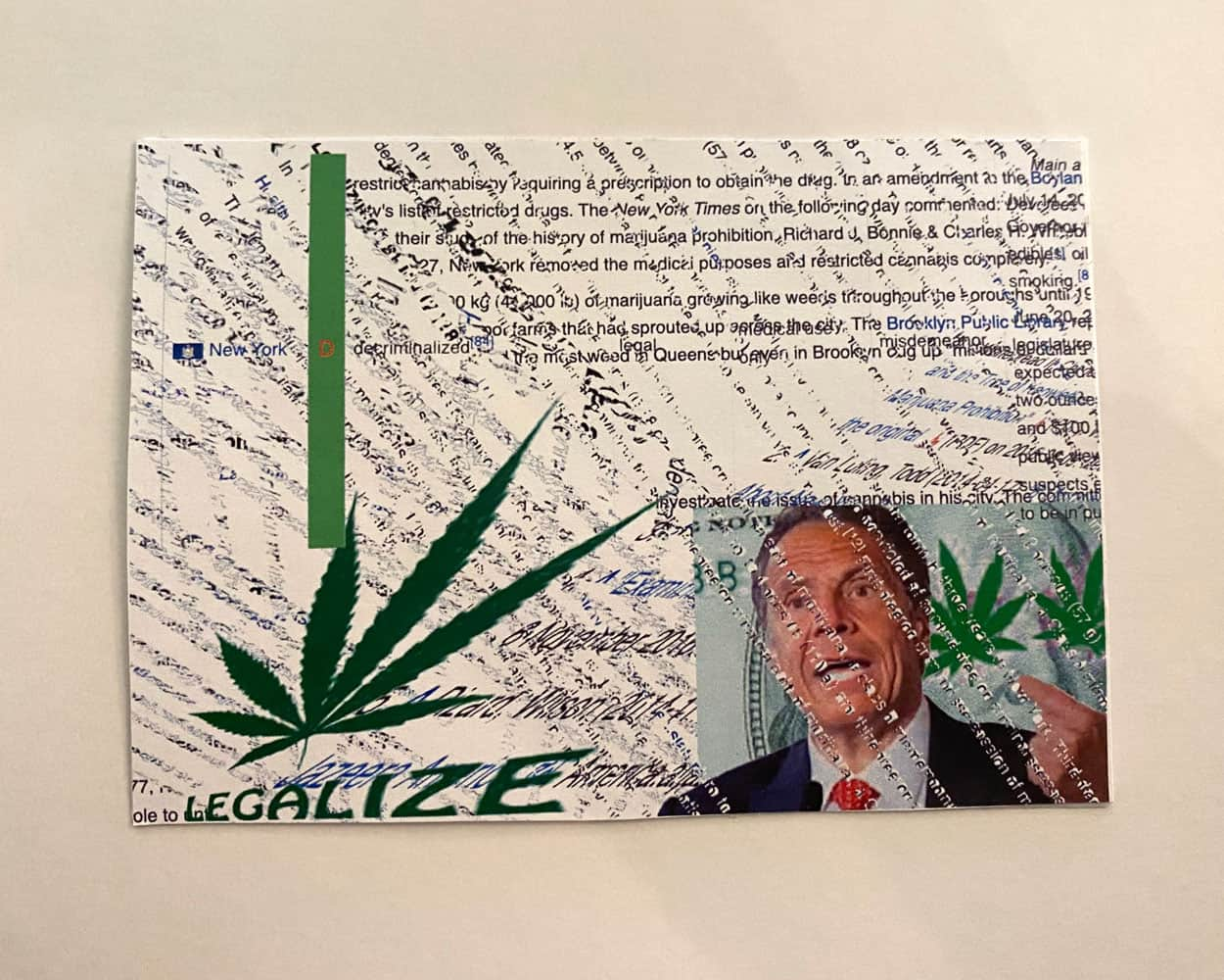 A postcard with distorted text and an image of a cannabis leaf on the bottom left corner, and an Image of Andrew Cuomo on the bottom right.